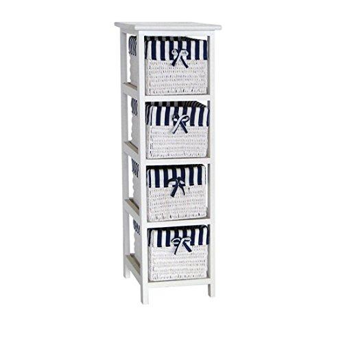 Frandis 199313 Ocean Waschbeckenunterschrank mit 4 Schubladen HOLZ weiß lackiert, geflochten, gestreift, Blau/Weiß, 25 x 29 x 83 cm