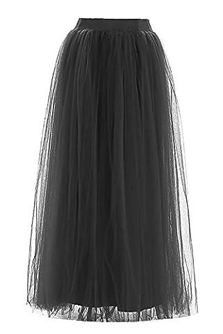Facent Damen 4 Schichten 100cm Lang Kleid Tüllrock Abendrock Tüll