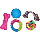 Jainsons Pet Products Dog & Puppy Rubber Chew Toys, Multi Color Ball And Cotton Bone Chew Toy