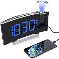 【Nouvelle Version】 Mpow Radio Réveil à Projection FM avec 2 Réveils, Afficheur LED de 5 Pouces avec Variateur, 5 Niveaux de Luminosité de l'écran, Onction Snooze de 9 Minutes, Bleu