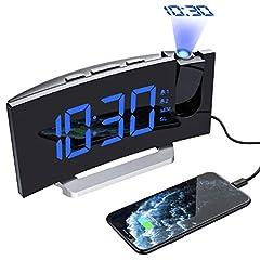 Idea Regalo - Mpow [Versione AGGIORNATA] Sveglia Digitale, Sveglia da Comodino, Radiosveglia con Proiettore, FM Orologio, Doppi Allarmi, USB Porta, Funzione Snooze, Sleep Timer, 5'' Display LED con Dimmer,12/24H