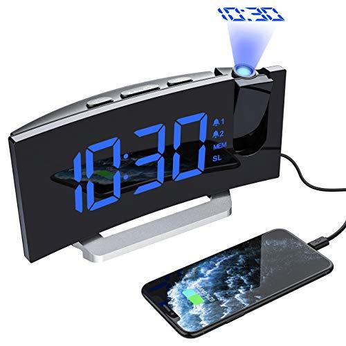 """Mpow DespertadorActualizado Pantalla led curvada de 5"""" y 6 niveles ajustable de brillo Proyección ultra claro con el ángulo 120° y 3 brillo ajustable Alarmas duales con 4 sonidos y 3 volumen de alarma opcionales Almacene 15 ra..."""