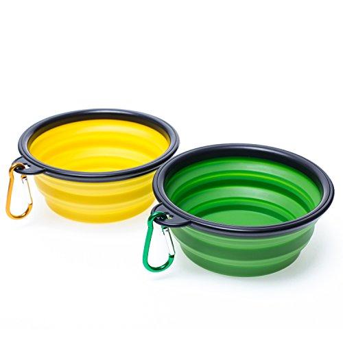Woofwoof reisenapf hund, faltbarer hundenapf 2 Stück(Gelb und grün)