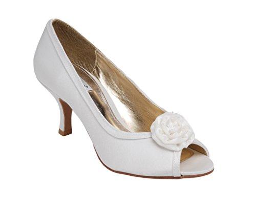 Mariage élégant pour Lexus Peep Toe Escarpin Fleur en tissu avec garniture en ivoire. Blanc - ivoire