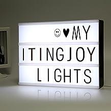 ITingjoy Combinación libre cinematográfica luz LED caja de luz con letras y tamaño A4