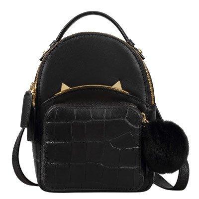 SZJZ Schultertasche aus Leder,Stern mit der gleichen Beutel,Katze Tasche black