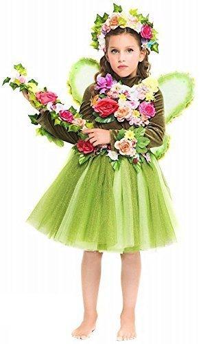 Italienische Herstellung Mädchen Deluxe grün Wald Fee Elfe büchertag Woche Film Kostüm Kleid Outfit 3-10 Jahre - Grün, 8 Years (Tinkerbell Kostüm Deluxe)