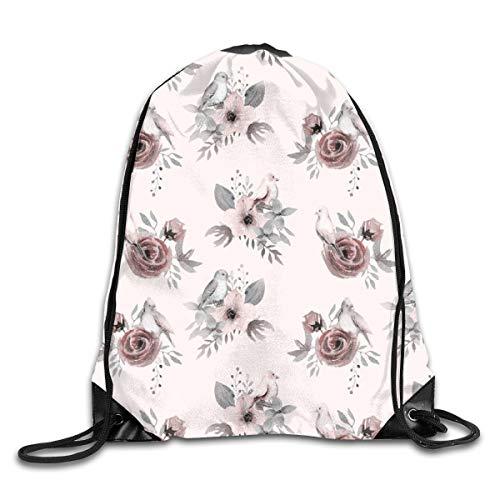 Drawstring Backpack Bags H Drawn Blush Watercolor Roses for Girls Room Nursery Baby Girl Animal Bird Flower Boho Boho Bird Blush Sport Athletic Gym Sackpack for Men Women - Flower Girl Satin Schuhe
