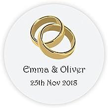 EKunSTreet ® 48x Personalisiert Hochzeitssticker   Goldene Ringe Aufkleber    40mm Papieraufkleber Etiketten Für Die Hochzeit