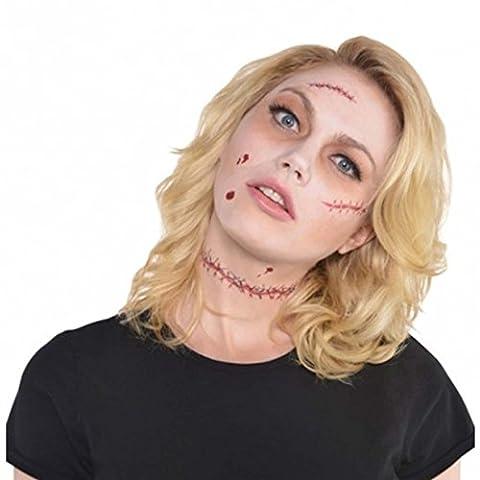 Fausses blessures Halloween Tatouage fausse cicatrice plaie pour costume d'horreur blessure en latex zombie cicatrices artificielles chair
