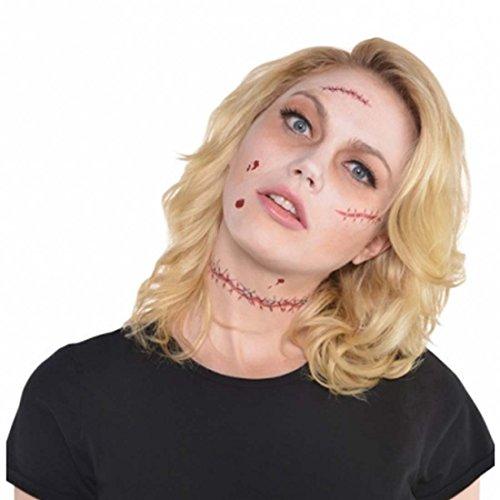 (Amakando Fake Tattoo Narben Halloween Wunden künstlich Zombie Latexwunden Horrorwunde Narbe Schnittwunden Kunstwunden Fleischwunden)