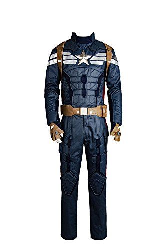 Captain America 2 The Winter Soldier Steve Rogers Uniform Outfit Cosplay (Captain America Kostüme Handschuhe)