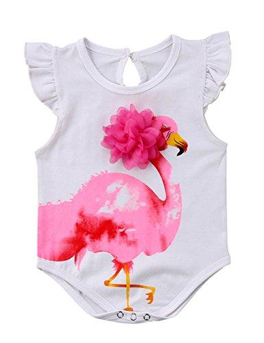 Binwwe Neugeborenes Baby Bodysuit Overall Spielanzug Siamesische Weste Mädchen Rüschen Fliegender Ärmel Fly Sleeve Flamingo Applique (9-12 Monate, Weiß) - 10 Applique