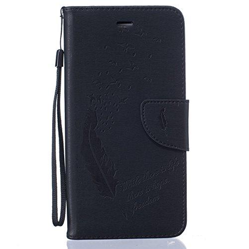 iPhone 6S Plus Coque, iPhone 6 Plus Coque, Lifeturt [ Rouge ] Coque Dragonne Portefeuille PU Cuir Etui en Cuir Folio Housse, Leather Case Wallet Flip Protective Cover Protector, Etui de Protection PU  E02-Noir