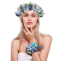 Aramomo Floral Garland Crown Tiara Hair Wreath Flower Headband Halo Floral Headpiece Boho with Ribbon Set Wedding Festival Party (flower, blue)