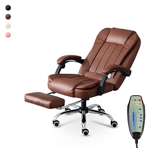Massage Bürostuhl Massage-Bürostühle Ergonomischer Bürocomputer-Stuhl kann den Sitz anheben 7 Punkt-Massage mit Beinunterstützung kann,Brown -
