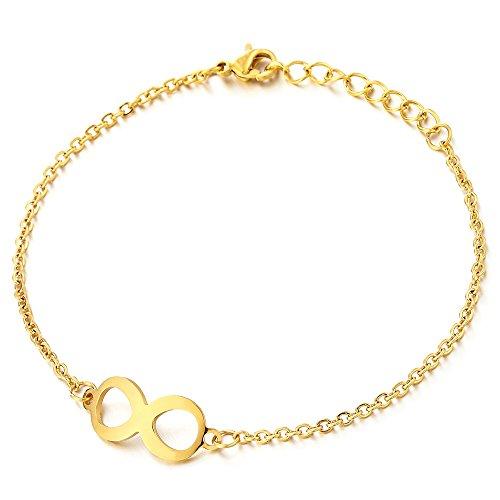 COOLSTEELANDBEYOND Freundschaft Goldfarben Number 8 Infinity Unendlich Liebe Edelstahl Damen-Fußkette Fußkettchen