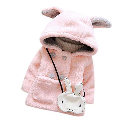 ZARU Las niñas bebé para el invierno cálido con capucha chaqueta de la capa de ropa caliente grueso (6, Rosa)