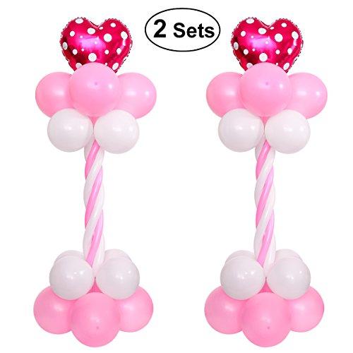 TOYMYTOY 2 Sets Balloon Arch 63 pulgadas de altura con la bomba de globo e instrucción Balloon Portable Columna base y decoración del globo de poste para la celebración de la fiesta de cumpleaños de la boda