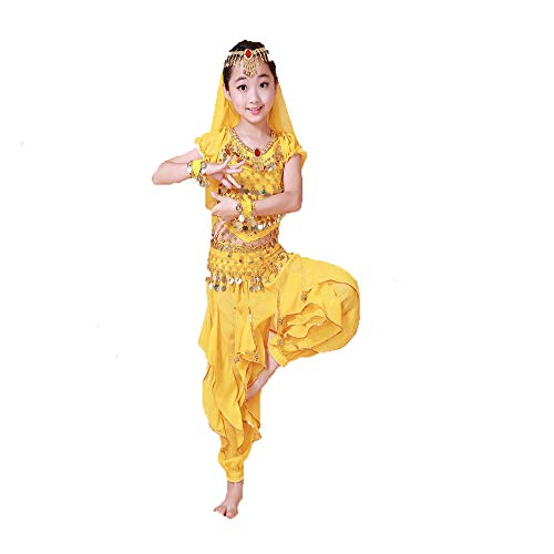 Head Kostüm Girl - GONGXI Children Sequin Dance Girl Indian Belly Dance Costumes Top & Pants & Waist & Head Chain & Veil & Bracelets,Yellow,S