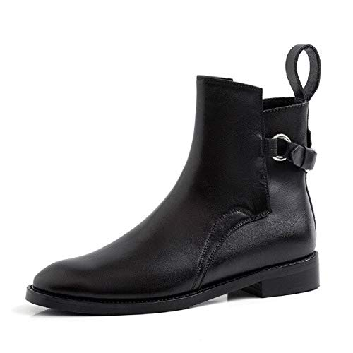 QPDUBB Ankle Boots Low Heels Ankle Boots Women Cow Leather Booties Woman Metal Decoration Shoes Female Motorcycle Shoes Ladies