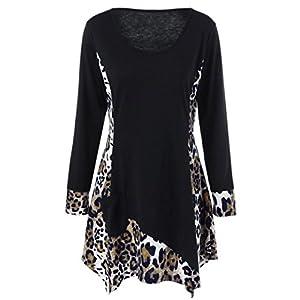 Hansee Casual Leopard Patchwork Tasche Langarm T Shirt O-Ausschnitt Pullover Bluse Tops