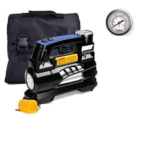 HJJH Luftkompressor-Autopumpe - Tragbarer Reifenfüller mit LED-Taschenlampe - 12v-Zigarettenanzünderkabel mit Tragetasche für PKW, LKW, SUV-Reifen, Beiboot, Luftmatratze etc,Pointer