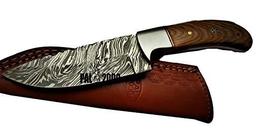 PAL 2000 SBJM-9458 handgefertigtes Klingenmesser aus Damaststahl mit Lederscheide und 22 cm langem Griff aus Olivenholz mit Feuermuster Koch  Zuhause  Küche  Garten  Billet Messer  Bar Camping -