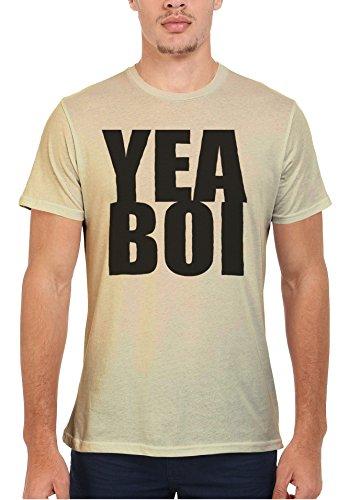 Yea Boi London Cool Funny Men Women Damen Herren Unisex Top T Shirt Sand(Cream)
