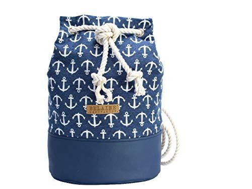 Rucksack, Seesack mit blauem Anker Muster - 3