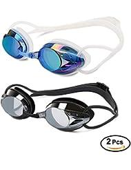 Yimidon Lunettes de Natation, Lunettes de Piscine Aucune Fuite Protection UV Antibuée Longueur Réglable pour Hommes Femmes Adultes