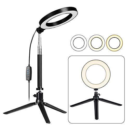 Fonrest LED-Ringlicht mit Stativ Selfie-Stick, 6 Zoll Dimmbar Boden/Tisch Ringförmige Lampe zum Selfie, Bilden, Liveübertragung, YouTube,...