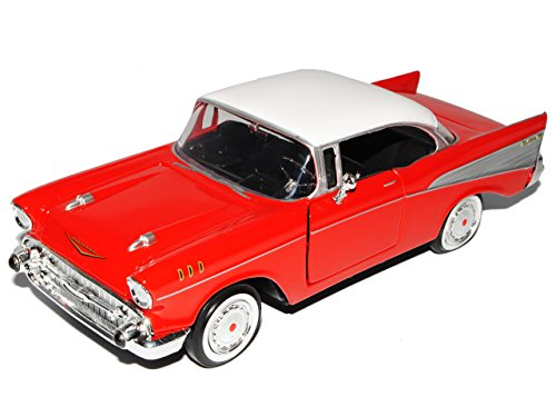 Chevrolet Chevy Bel Air 1957 Rot Coupe Oldtimer 1/24 Motormax Modellauto Modell Auto