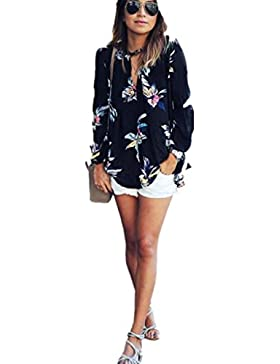 FEITONG Impresión Floral Para Mujer Flojas de La Gasa de La Manga de La Camiseta Larga de La Blusa de Las Tapas