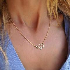 Idea Regalo - Simsly - Collana con ciondolo a forma di elefante, per donne o ragazze, semplice, in oro o argento, ottima idea regalo