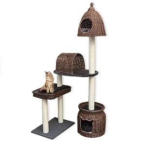 Salzburg 14357 Arbre à chat en osier tressé et bois foncé Gris
