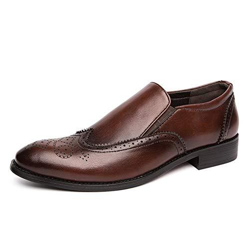 Apragaz Scarpe Brogue da Uomo Comfort Slip On Oxford Vintage Scarpe Eleganti A Punta Arrotondata con Cucitura A Punta di personalità (Color : Marrone, Dimensione : 43 EU)