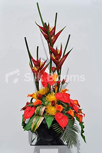 Silk Blooms Ltd Kunstblumen-Arrangement Anthurium und Calla-Lilie, mit Rosen, Protea und Heliconia