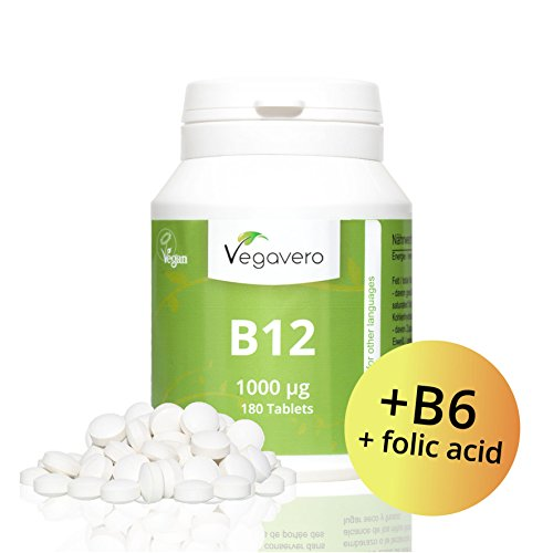 Vitamin B12 1.000 µg, B6 + Folsäure | LABORGEPRÜFT und ZERTIFIZIERT | 180 Tabletten | Sinnvolle B-Vitamin Kombination | Hochdosiert | Methylcobalamin | Vegan ohne künstliche Aromen und Gelatine | Vegavero
