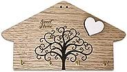 """Portachiavi da parete in legno MDF, con testo inciso """"Sweet Home"""" e stampa albero della vita, con cu"""