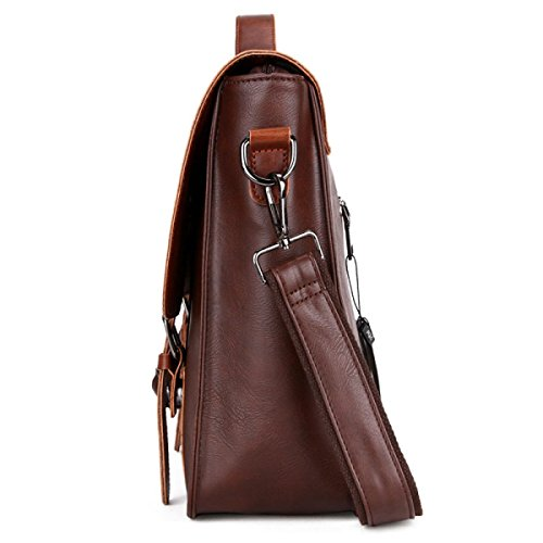 Männer Portable Aktenkoffer Querschnitt Mad Horse Skin Retro Diagonal Cross Business Herren Tasche 棕色