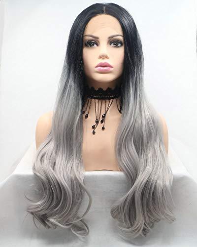 Drag Queen Peluca de pelo largo sintético con raíces negras y encaje frontal gris degradado para mujer, ideal para cosplay, fiesta impecable