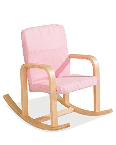Kinder-Schaukelstuhl Kindersessel Kinderstuhl BERNIE 1 | Pink | Holz | Baumwolle
