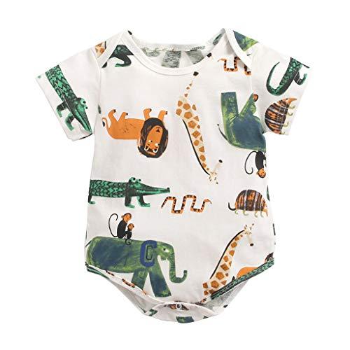 Säugling Strampler Neugeborene Kurzarm Cartoon Print Strampler Overall Outfits Set -