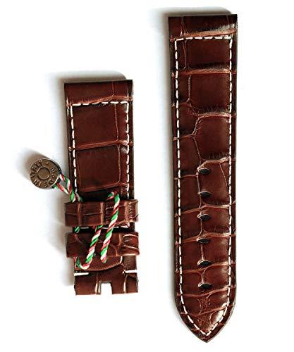 Cinturino in pelle marrone scuro coccodrillo, 24 mm, stile Panerai