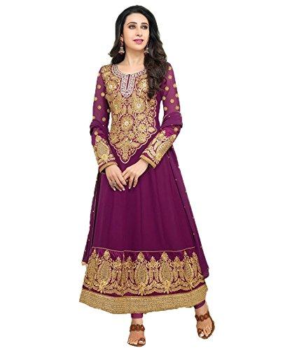 Clickedia Women Faux Gorgette Semi-Stitched Anarkali Suit (EL30012-Purple)