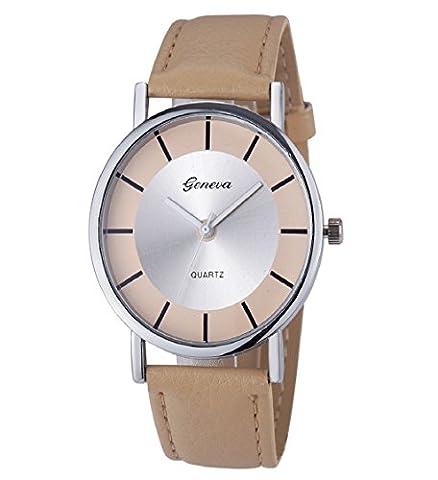 Loveso-Armbanduhr elegant Genf Damenmode Retro Dial Leder analoge Quarz-Armbanduhr Uhren_Khaki