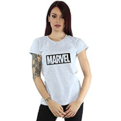 Marvel Mujer Logo Outline Camiseta Deporte Gris Small