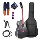 Vangoa Guitarra de 12 Cuerdas 41 Inch Guitarra Eléctrica Acústica 4 Bandas EQ...