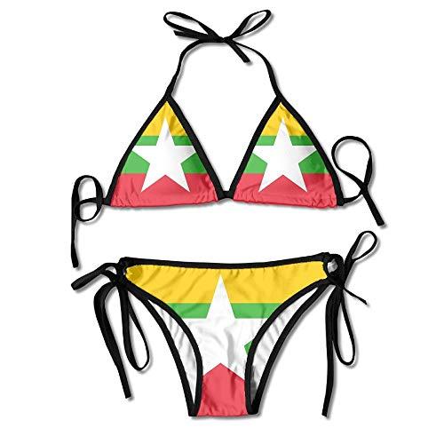 Rghkjlp Flag of Myanmar Sexy Boxing Bikini Women Halterneck Top and Set Swimsuits Beach Swimming